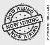 now hiring rubber stamp... | Shutterstock .eps vector #486061366