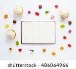 notebook  candied fruit jelly... | Shutterstock . vector #486064966