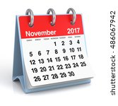 november 2017 calendar.... | Shutterstock . vector #486067942