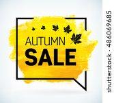 yellow hand paint artistic dry... | Shutterstock .eps vector #486069685