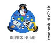 teamwork meeting of business... | Shutterstock .eps vector #486074536