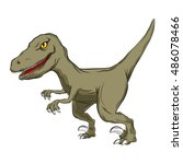 brown cartoon of raptor ... | Shutterstock .eps vector #486078466
