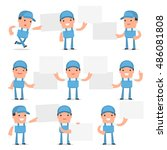 set of funny and cheerful... | Shutterstock .eps vector #486081808