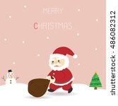 santa claus carrying a heavy... | Shutterstock .eps vector #486082312