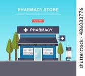 facade of pharmacy in the urban ... | Shutterstock .eps vector #486083776