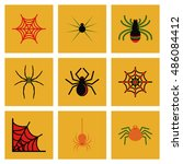 assembly flat icons halloween... | Shutterstock .eps vector #486084412