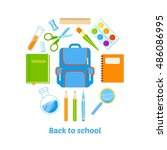 back to school background with... | Shutterstock . vector #486086995
