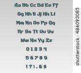 vector alphabet with numbers ... | Shutterstock .eps vector #486093085
