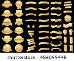 banner gold vector icon set on... | Shutterstock .eps vector #486099448