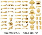banner gold vector icon set on... | Shutterstock .eps vector #486110872