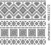 ethnic seamless monochrome... | Shutterstock .eps vector #486111172