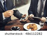 businessmen break coffee... | Shutterstock . vector #486112282