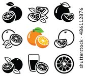 orange fruit icon collection  ... | Shutterstock .eps vector #486112876