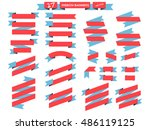 flat ribbon banners red and... | Shutterstock .eps vector #486119125