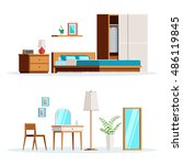 scene bedroom interior set... | Shutterstock .eps vector #486119845