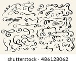 decorative hand drawn swirl... | Shutterstock . vector #486128062