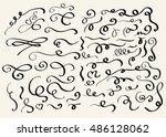 decorative hand drawn swirl... | Shutterstock . vector #486128062