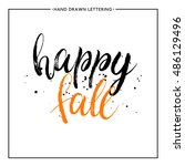 happy fall text with black... | Shutterstock .eps vector #486129496