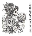 art women skull in love with... | Shutterstock . vector #486131896