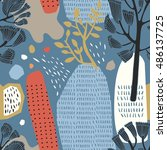 decorative forest in vector ... | Shutterstock .eps vector #486137725