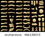 banner gold vector icon set on... | Shutterstock .eps vector #486138415