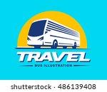 Travel Bus Illustration On Blue ...