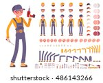 Male construction worker creation set. Build your own design. Cartoon vector flat-style infographic illustration | Shutterstock vector #486143266