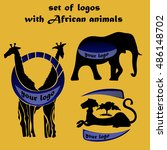 set of logos with african... | Shutterstock .eps vector #486148702