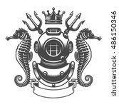 monochrome diving label emblem. ... | Shutterstock .eps vector #486150346