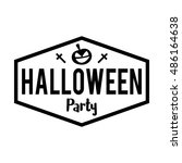 halloween party badge label.... | Shutterstock .eps vector #486164638
