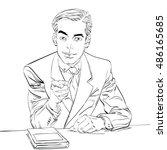 businessman finger pointing at... | Shutterstock .eps vector #486165685