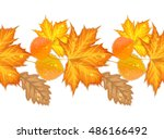 Autumn Leaves Seamless Border...