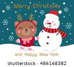 cute bear and snowman... | Shutterstock .eps vector #486168382