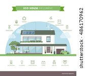 green eco house infographic... | Shutterstock .eps vector #486170962