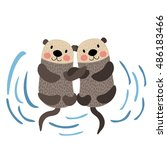 Otter Couple Holding Hands...