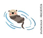 Floating Otter Animal Cartoon...