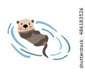 Floating Otter Animal Cartoon...