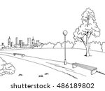park graphic art black white... | Shutterstock .eps vector #486189802