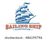 sailing ship illustration on... | Shutterstock .eps vector #486195796