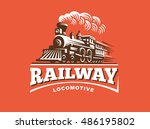 locomotive logo illustration ... | Shutterstock .eps vector #486195802