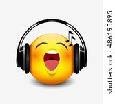 cute singing emoticon with... | Shutterstock .eps vector #486195895