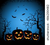 halloween night with grinning... | Shutterstock .eps vector #486200482
