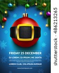 christmas party poster design.... | Shutterstock .eps vector #486213265