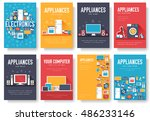 home appliances cards set.... | Shutterstock .eps vector #486233146