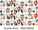 collection of patterns happy... | Shutterstock .eps vector #486238816