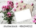 bouquet of tender pink roses... | Shutterstock . vector #486244312