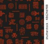 vector maya seamless pattern.... | Shutterstock .eps vector #486246988