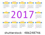 2017 pocket calendar. template... | Shutterstock .eps vector #486248746