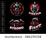 set sport emblem on dark... | Shutterstock .eps vector #486259258