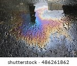 puddle of oil and water on... | Shutterstock . vector #486261862